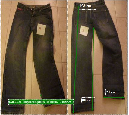 Jeans fille denim taille 38 x 2