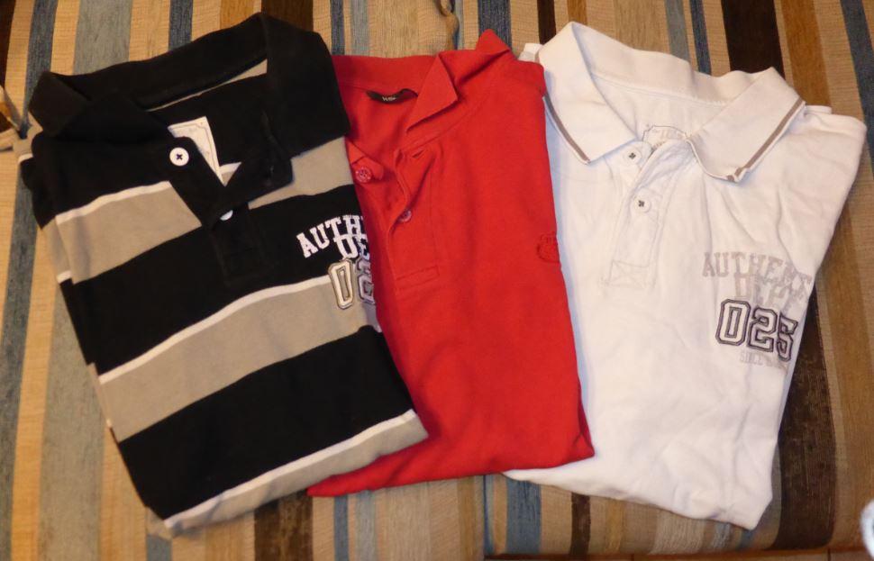 Lot 3 polos xxl noir et gris rouge et blanc 1 kg