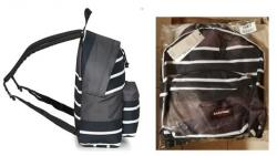 Sac a dos eastpak a rayures noires et blanches
