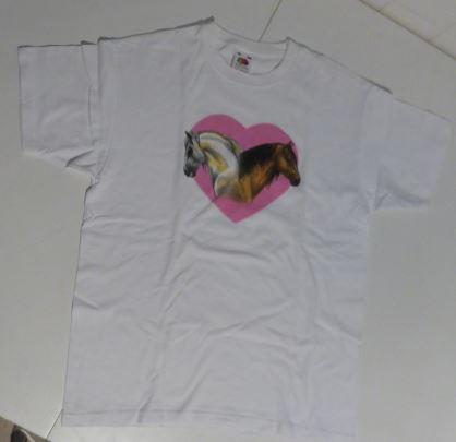 T shirt blanc cheval coeur rose t 12 13 ans