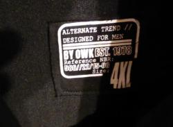 Veste homme noire owk coton taille 4 xl etiquette